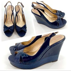 Lilly Pulitzer Navy Blue Patent Leather Wedge 7.5